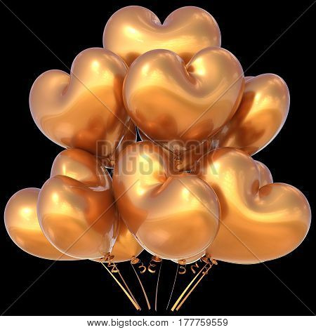 Party balloons golden heart shaped happy birthday event decoration glossy. 3D illustration isolated on black