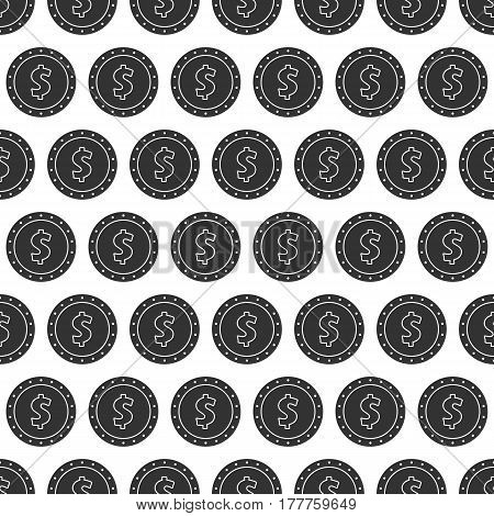 Seamless pattern from dollar coin. Background from money symbol, icon.