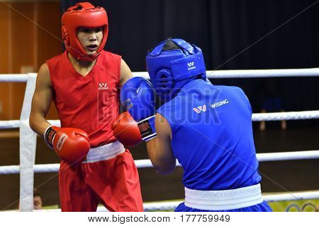 Orenburg, Russia - January 21, 2017 Year : Boys Boxers Compete