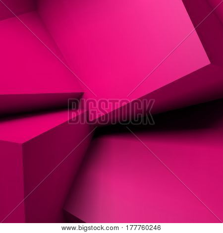 Abstract geometric background with realistic overlapping red cubes