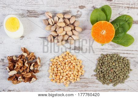 Products And Ingredients Containing Vitamin B1 And Dietary Fiber, Healthy Nutrition
