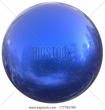 Blue sphere round button ball basic circle geometric shape solid figure. 3d render illustration isolated