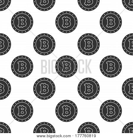 Seamless pattern from Bitcoin coin. Background from Cryptocurrency symbol, icon.
