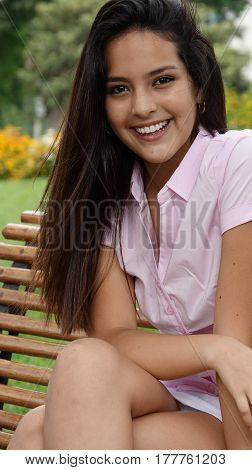 Pretty Teen Hispanic Girl With Long Hair