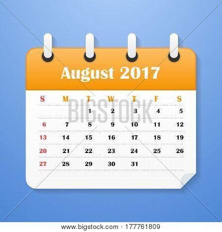 European Calendar for August 2017. Week starts on Monday. Vector illustration