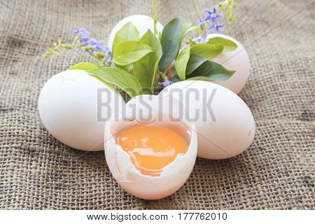 popular foods eggs raw prepare to cook on old sack