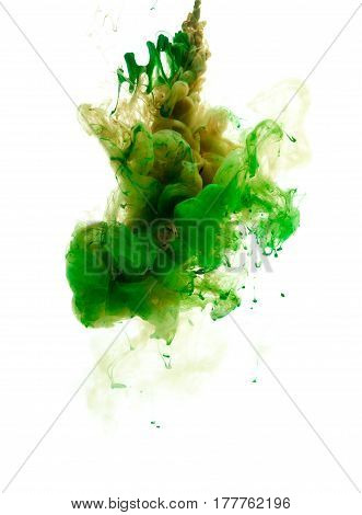 Colors dropped into liquid and photographed while in motion. Ink swirling in water. Cloud of silky ink in water isolated on white background. Colorful ink in water an abstract banner.