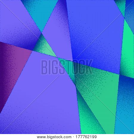 Abstract background with vibrant colors and retro styled vintage dotwork gradients on triangular grid