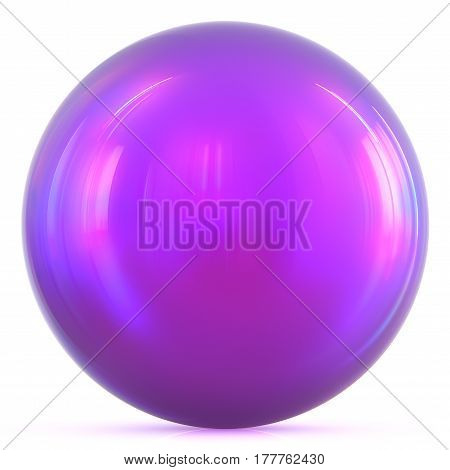 Purple ball sphere round button basic circle geometric shape. 3d illustration isolated