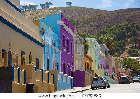 Cape Town South Africa - March 05 2017: The Bo-Kaap in Cape Town is known for its brightly painted houses