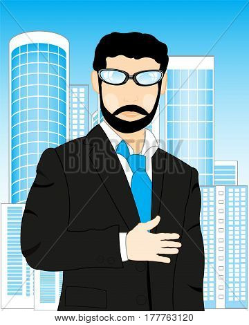 Man in suit with tie on background of the city