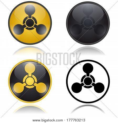 Chemical weapon warning, hazard sign. Vector illustration