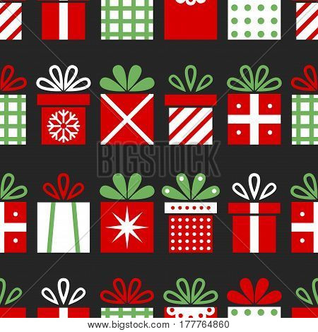 Seamless pattern with gift boxes, Christmas background, surprises for the holiday. Vector