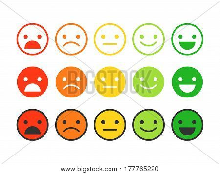 Colored flat icons of emoticons. Different emotions, moods. Vector