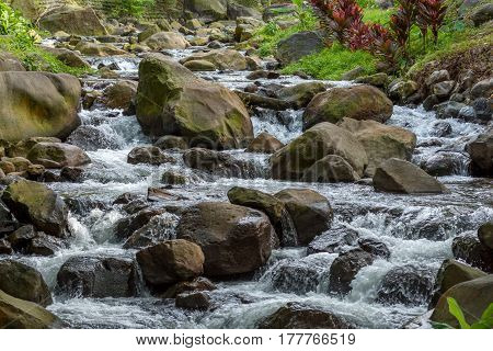 A narrow river / stream flowing rapidly over large rocks and boulders with green healthy vegetation in the back ground.