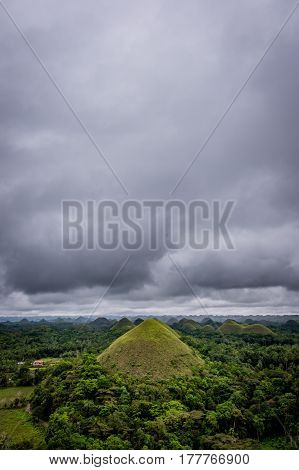 Impressive and Famous Chocolate Mountains of Bohol Island Philippines.