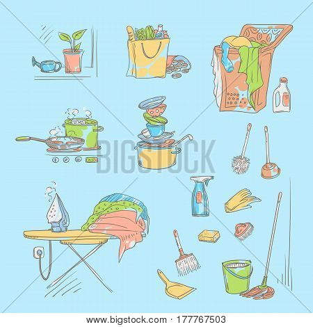 Vector set sketch color illustration on a blue background of objects and situations domestic work. Unwashed dishes and not ironed linen, items and accessories for cleaning, buy food and cooking