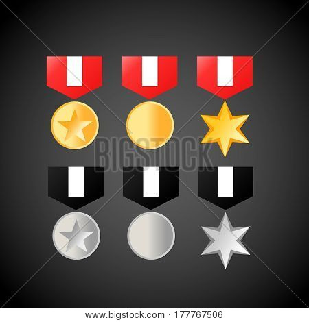 military medals golden and silver . Medal icons