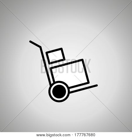 hand truck icon . hand track with boxes