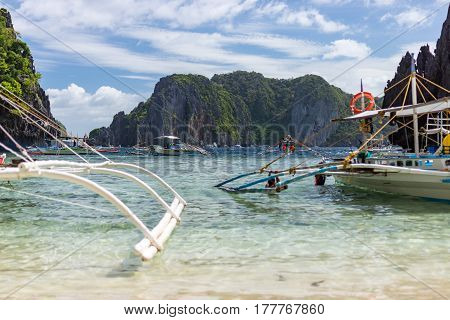 Filipino Pump Boats On A Sunny Day