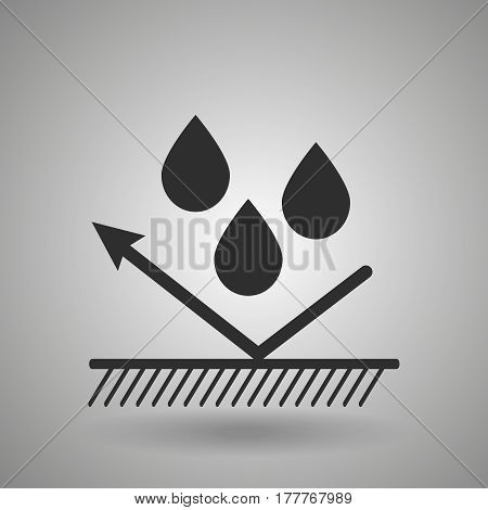 hydrophobic material icon . Droplets and arrow sign