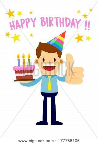 Vector stock of a businessman with birthday cake and party hat saying happy birthday