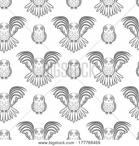 Seamless pattern with both flying and sitting owl in geometric order. Stock vector illustration of a bird for textile fabric wallpaper.