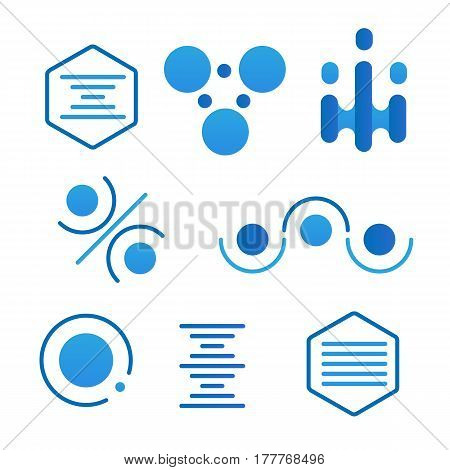 Simple science logo set on white background. Icon template for biology chemistry medicine laboratory. Symbol for corporate branding identity. Stock vector illustration.