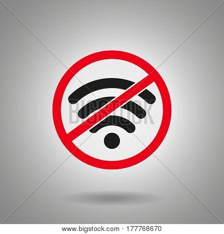 no wi fi icon . Wi fi symbol in red crossed circle