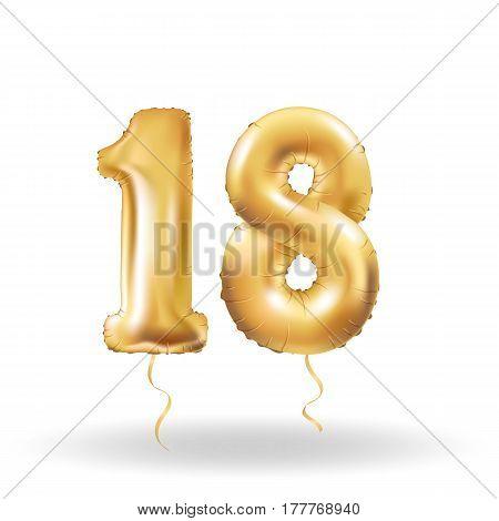 Number Eighteen Metallic Balloon