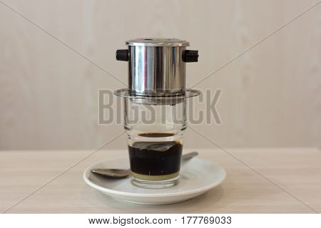 Vietnamese Coffee Dripping In To A Glass