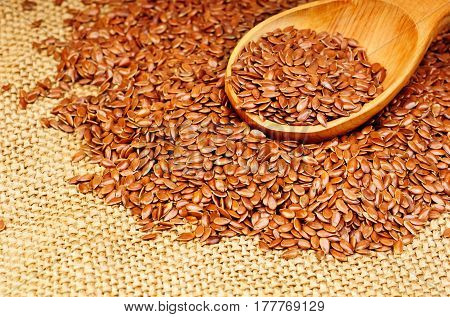 close up of flax seeds on canvas background