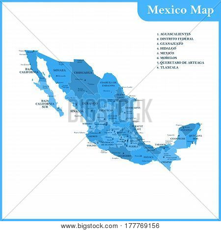 The detailed map of the Mexico with regions or states and cities, capitals