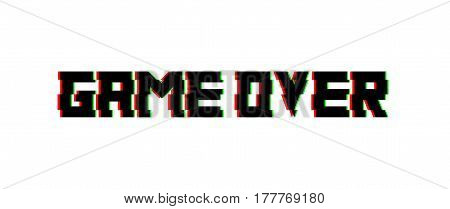 Game over glitch design. Vector for banners, web pages, screen savers, presentations