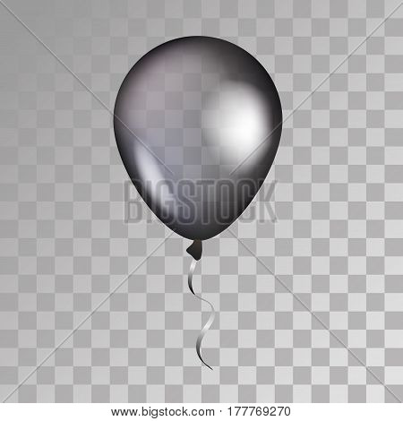 Black transparent balloon on background. Frosted party balloons for event design. Balloons isolated in the air. Party decorations for birthday, anniversary, celebration. Shine transparent balloon.