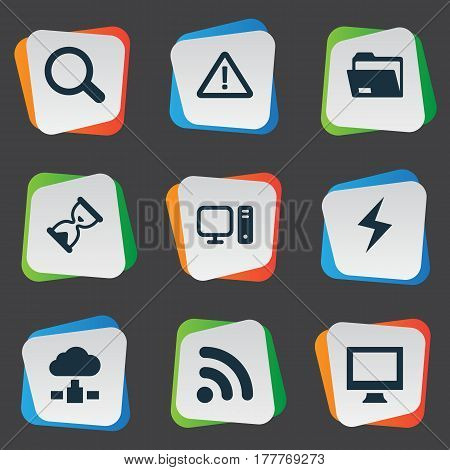 Vector Illustration Set Of Simple Notebook Icons. Elements Battery, Monitor, Dossier And Other Synonyms Folder, Search And Monitor.