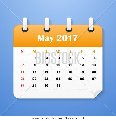 European Calendar for May 2017. Week starts on Monday. Vector illustration
