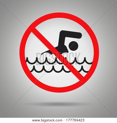 dont swim symbol . Swimming man in red crossed out circle
