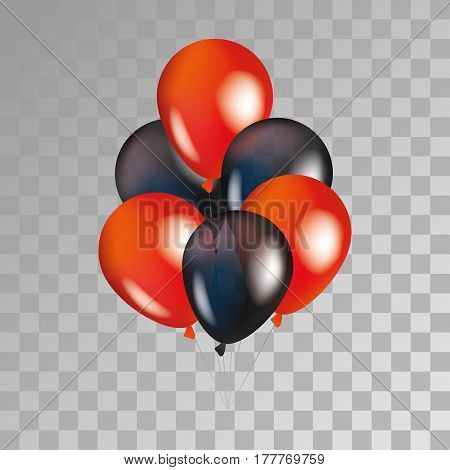 Red and black balloon on background. Party balloons for event design. Transparent balloons isolated in the air. Party decorations for birthday, anniversary, celebration. Shine transparent balloon.