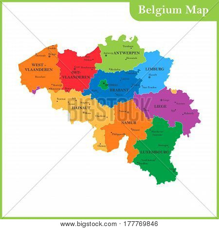 The detailed map of the Belgium with regions or states and cities, capitals