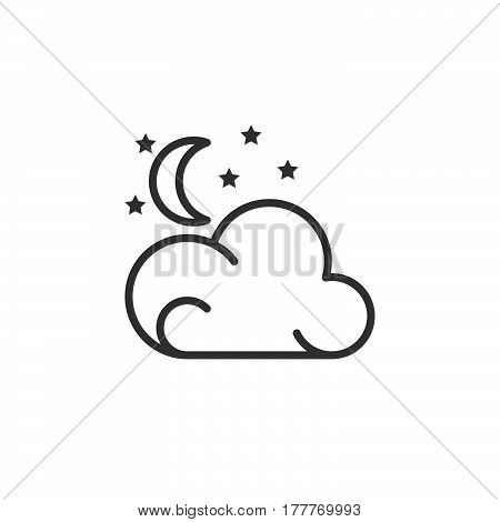 Moon stars cloud line icon outline vector sign linear pictogram isolated on white. Partly cloudy night weather forecast symbol logo illustration