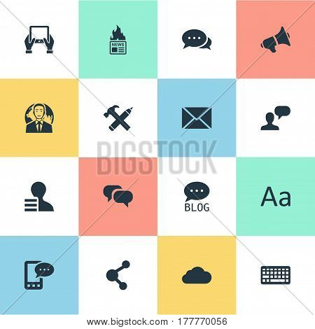 Vector Illustration Set Of Simple Newspaper Icons. Elements Gain, Cedilla, Loudspeaker And Other Synonyms Conversation, Typography And Speech.