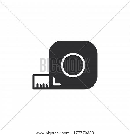 Roulette tape measure icon vector filled flat sign solid pictogram isolated on white. Symbol logo illustration
