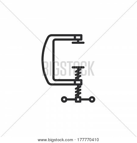 C clamp line icon outline vector sign linear pictogram isolated on white. Compress symbol logo illustration