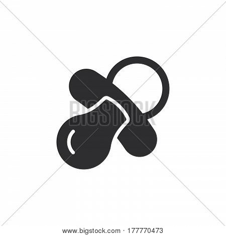 Pacifier nipple icon vector filled flat sign solid pictogram isolated on white. Symbol logo illustration