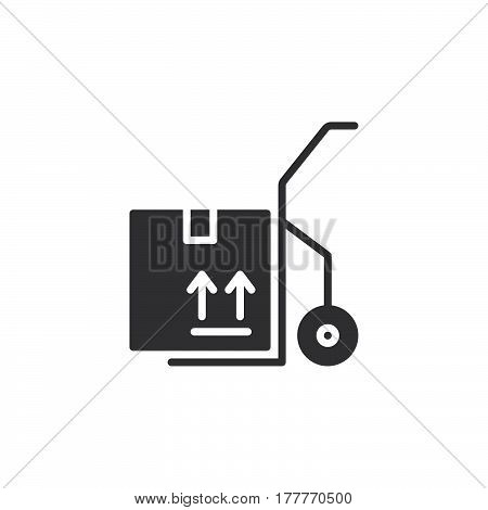 Hand track dolly icon vector filled flat sign solid pictogram isolated on white. Symbol logo illustration