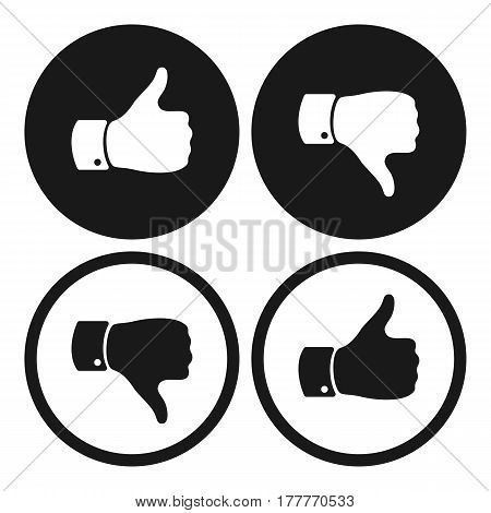Thumb up and down symbols. Human hand icon. Sign of Like and Dislike. Voting good or bad signs