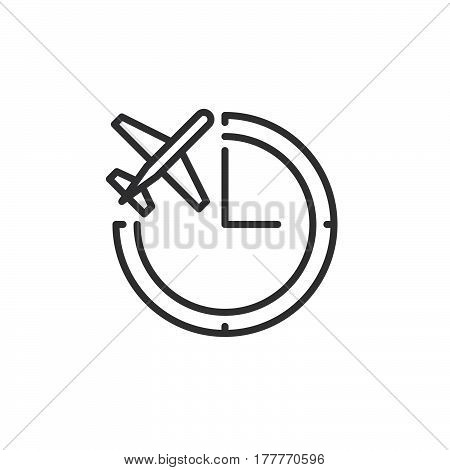 Clock and plane line icon outline vector sign linear pictogram isolated on white. Flight status symbol logo illustration