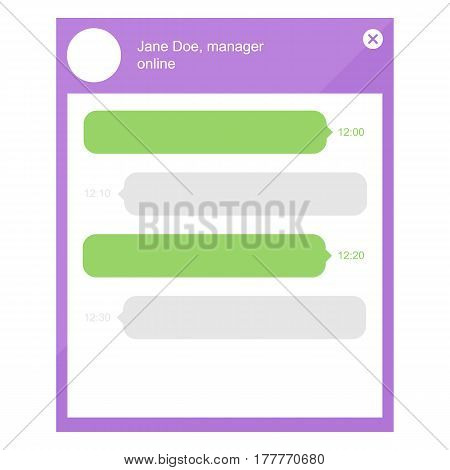 Flat design online chat with manager template. Speech bubbles, web messages, vector conversation frames.