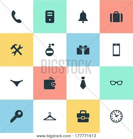 Vector Illustration Set Of Simple Accessories Icons. Elements Call Button, Billfold, Fragrance And Other Synonyms Hanger, Hook And Underpants.